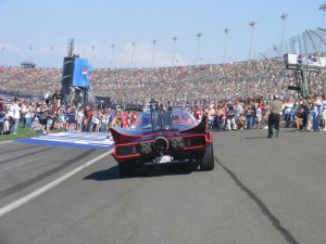 Batmobile beats Herbie at NASCAR!