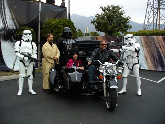 harley hearse with Elvira?
